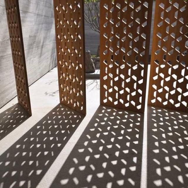 Corten steel laser cut screen, planter box cube design idea