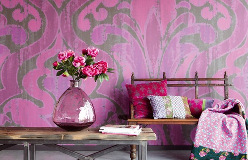 Bohemian Pink eclectic wallpaper/ great color combination!