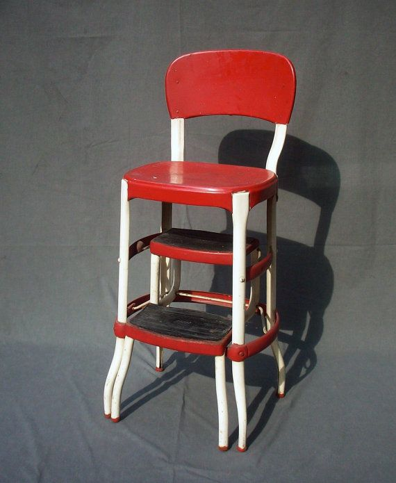 Vintage Cosco Metal Step Stool / Chair c Lora and would would lay it on its side and pull out the steps.we then would pretend it was a spaceship or car ... & 17 best metal step chairs images on Pinterest | Step stools Stool ... islam-shia.org