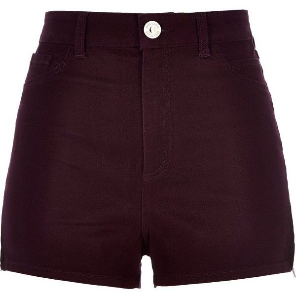 River Island Berry high waisted Nori shorts ($50) ❤ liked on Polyvore featuring shorts, bottoms, short, pants, denim shorts, women, high rise shorts, denim short shorts, stretchy jean shorts and summer shorts