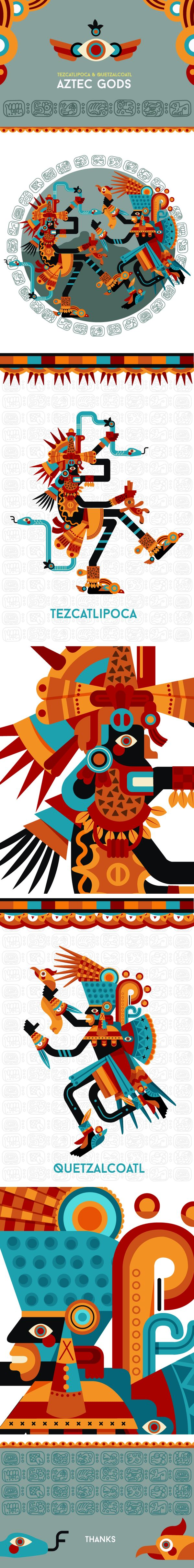 Tezcatlipoca & Quetzalcoatl by Pedro Melo, via Behance