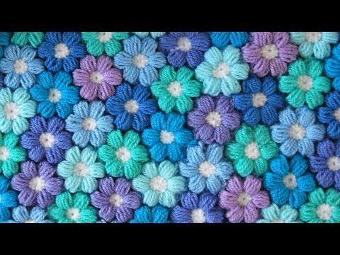 Tutorial uncinetto - Fiore tridimensionale (punto nocciolina) - YouTube