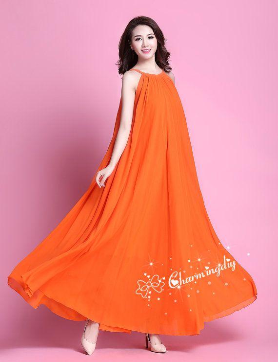 32 Farben Chiffon Orange lange Party Kleid Hochzeit von CHARMINGDIY