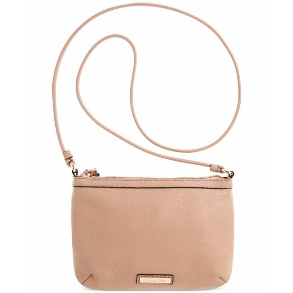 Calvin Klein Pebble Leather Crossbody (360 RON) ❤ liked on Polyvore featuring bags, handbags, shoulder bags, nude, calvin klein crossbody, nude handbags, calvin klein purse, nude purses and calvin klein