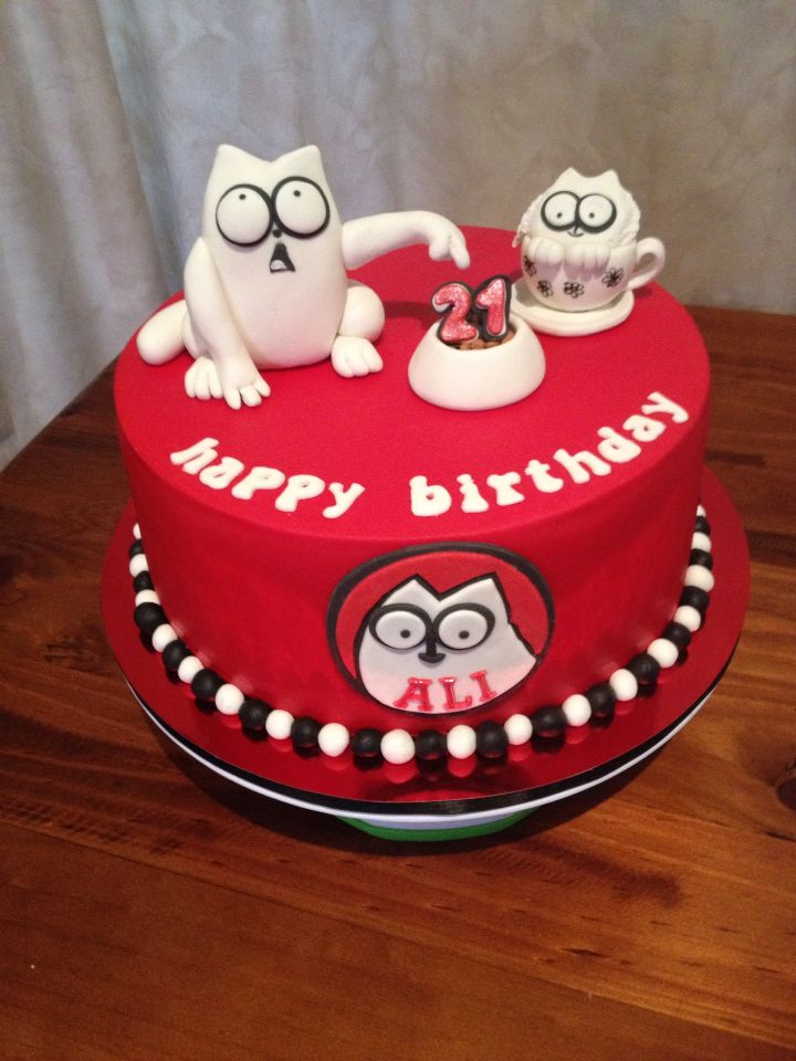 Simons Cat  21st cake  Novelty Cakes  21st cake Cake Simons cat