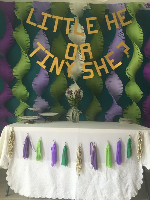 Gender Reveal using purple and green.