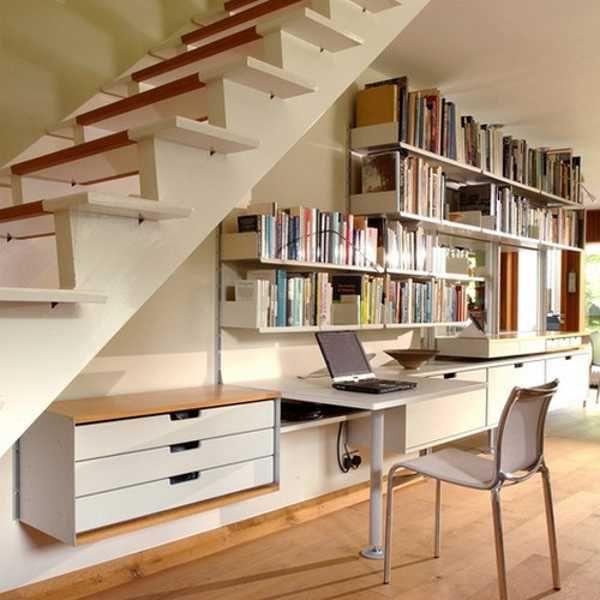 modular wall shelves under staircase