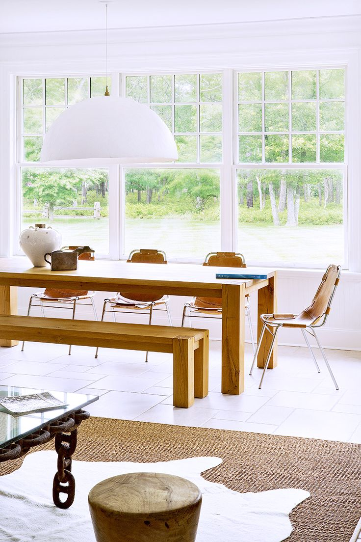Tour A Gorgeously Layered Artistic Hamptons Home Leather Dining ChairsDining BenchKitchen DiningDining RoomsTable