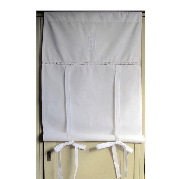Tall 76 inch, French Door Curtain, Monogram, Fleur de Lis French Cotton Roller Shade, Machine Embroidery, Tie up Panel