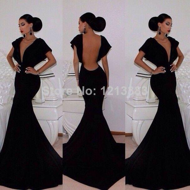 Deep V Neck Cap Sleeve Black Mermaid Evening Dresses Backless Long Sexy Prom Dresses 2014 Women Dresses