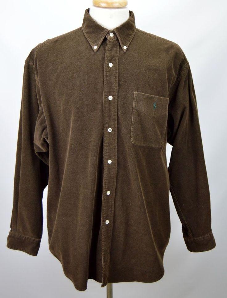 Polo Ralph Lauren Big Shirt Men's Large Solid Brown Corduroy Long Sleeve Shirt #RalphLauren #ButtonFront