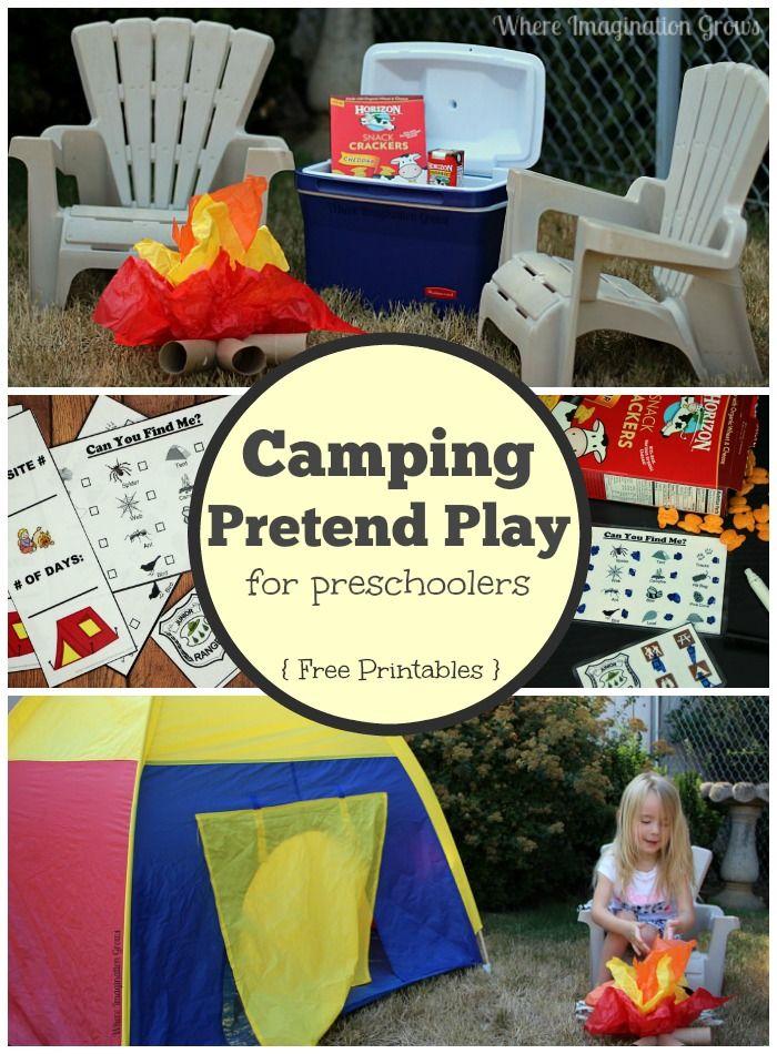 Camping pretend play ideas for preschoolers with free printables! #preschool #horizonsnacks #ad