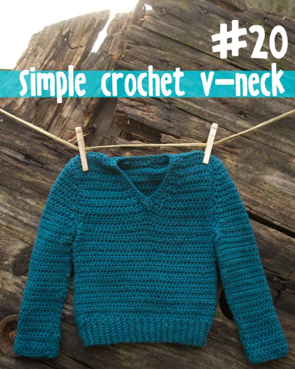 Simple v-neck crochet baby sweater from 100 Baby Sweater ...