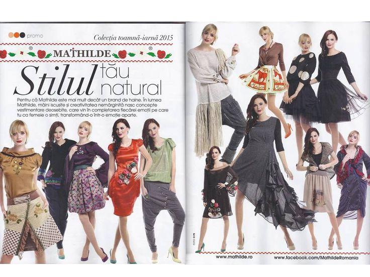 Creatii MATHILDE ,colectia de Toamna - Iarna 2015 in editia de Octombrie a revistei Femeia., disponibile in magazinele MATHILDE, on-line pe www.mathilde.ro cat si la Distribuitorii autorizati