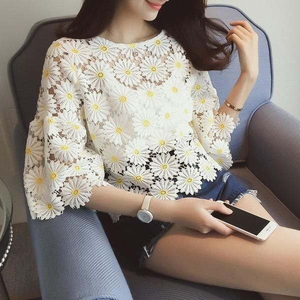Fashion Daisy Flowers Crochet Lace Blouse elegant Casual Loose Top - Lupsona