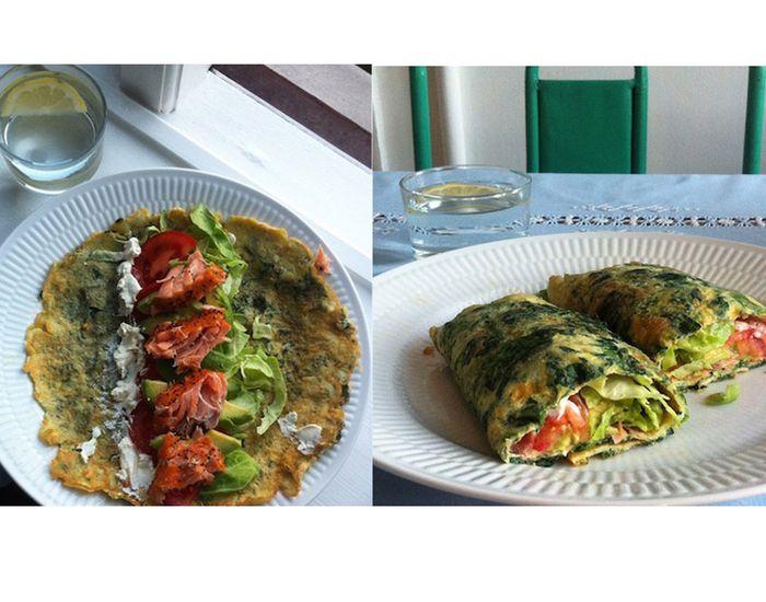 Spændende spinat-æggewrap med avocado og laks