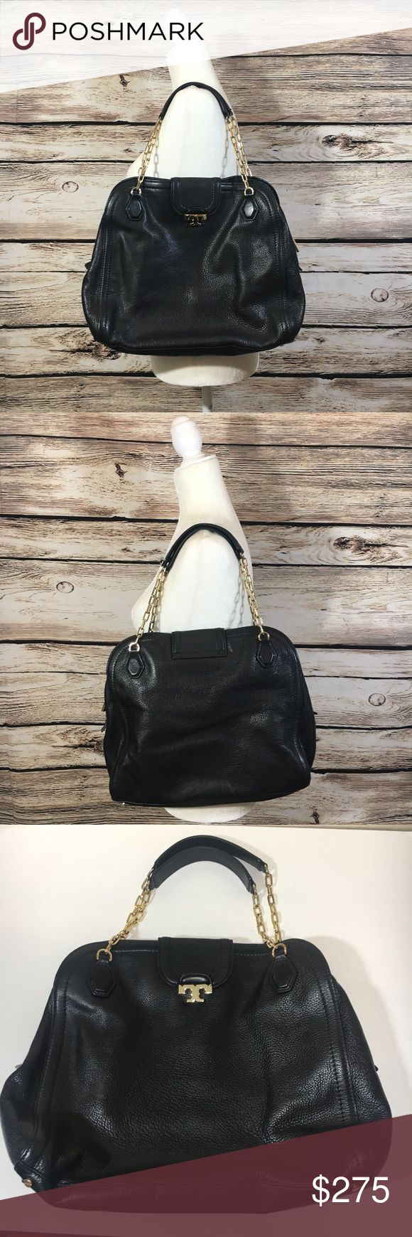 """Tory Burch Sammy leather black pebbled satchel bag Tory Burch """"Sammy"""" black pebbled leather satchel with gold chain strap. Magnetic snap/zip closure, gold hardware, clean interior with no staining. Exterior is in excellent condition! This bag was lightly worn, like new condition! No dust bag included, 100% authentic! L 13.5"""", Height 12"""", width 3.5"""", Strap drop 9"""" Tory Burch Bags Satchels"""