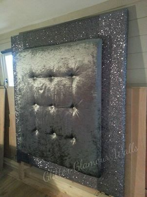 Sparkly Glitter and Velvet Diamond Studded Headboard
