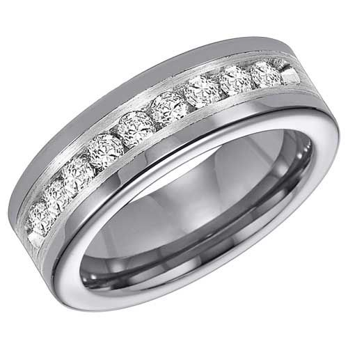 Triton Tungsten Carbide Diamonds Band with Sterling Silver Inlay (1 ctw) $1,650.00