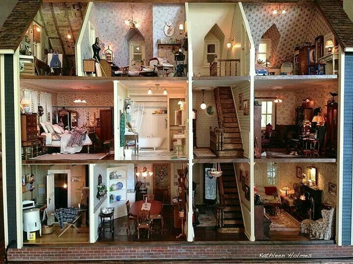 My fave dollhouse ever: Ash Tree Cottage: Kathleen's Newer Bigger and  Better Dollhouse