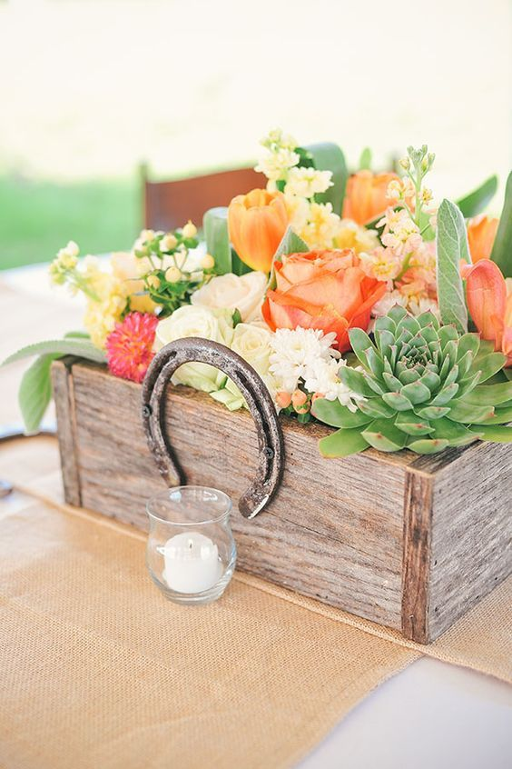 rustic succulent wooden box and horseshoe wedding centerpiece / http://www.deerpearlflowers.com/rustic-farm-wedding-horseshoe-ideas/