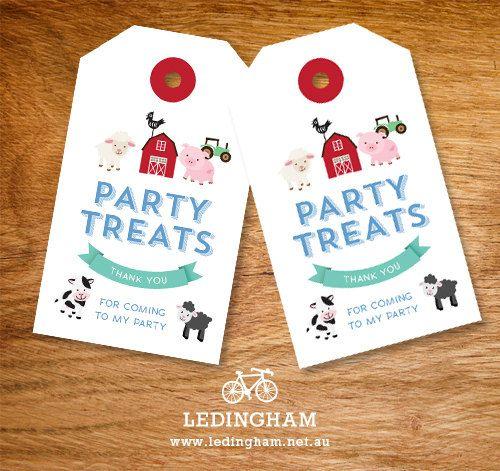 Animal Farm Barnyard Lolly Bag Party Treat Tags by LedinghamShop, $5.95