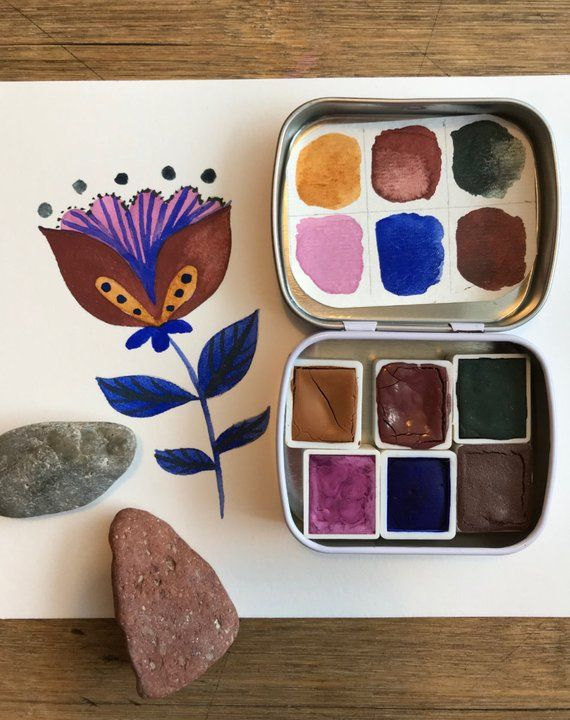 Watercolor Handmade Watercolour Paint Set In A Mini Travel Tin