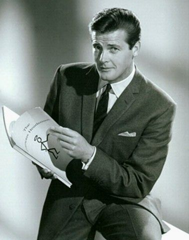 Roger Moore as Simon Templar...The Saint.  Roger Moore played Simon Templar in 118 episodes of The Saint TV series from 1961–1969.