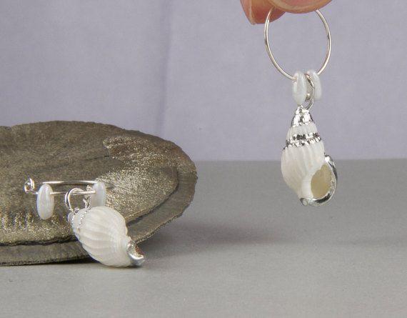 Wit hoepel oorbellen, oorbellen, een hanger oorbellen, shells, zee, strand, witte oorbellen, stijl van 925 zilver, boho, hippie, bohemien, bruids sieraden