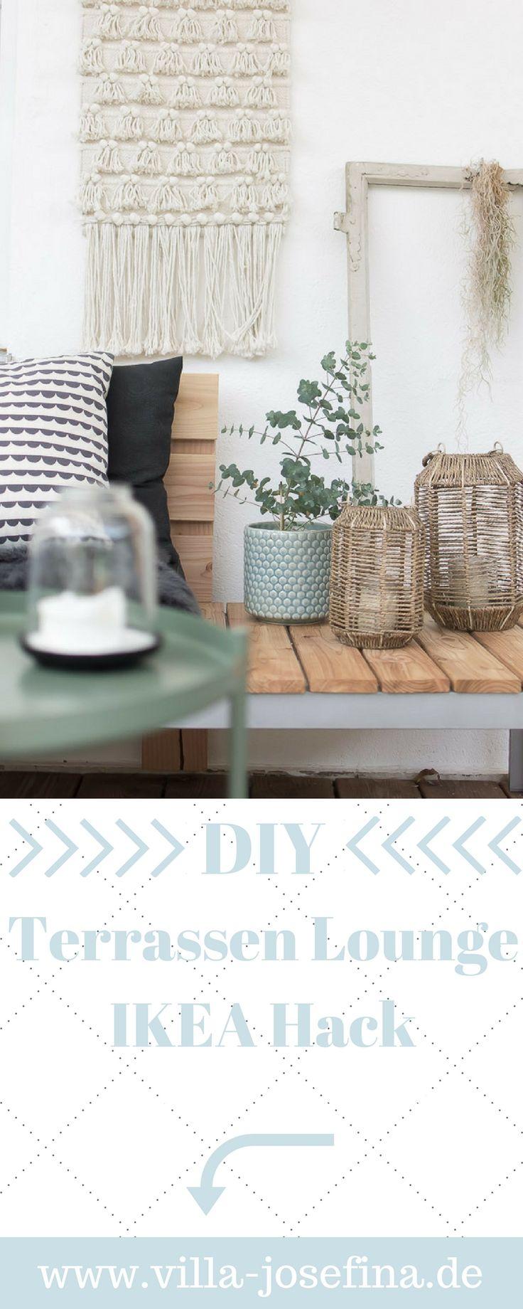 DIY Terrassen Lounge aus der FALSTER Liege von Ikea, schnell und günstig gebaut, mit Anleitung und vielen Bildern. Ikea Hack, günstige Terrassen Lounge, Garten Lounge, Holz Lounge