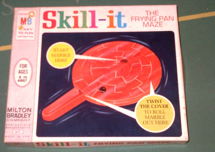 Vintage SKILL-IT The Frying Pan Maze Game Toy by Milton Bradley, 1966