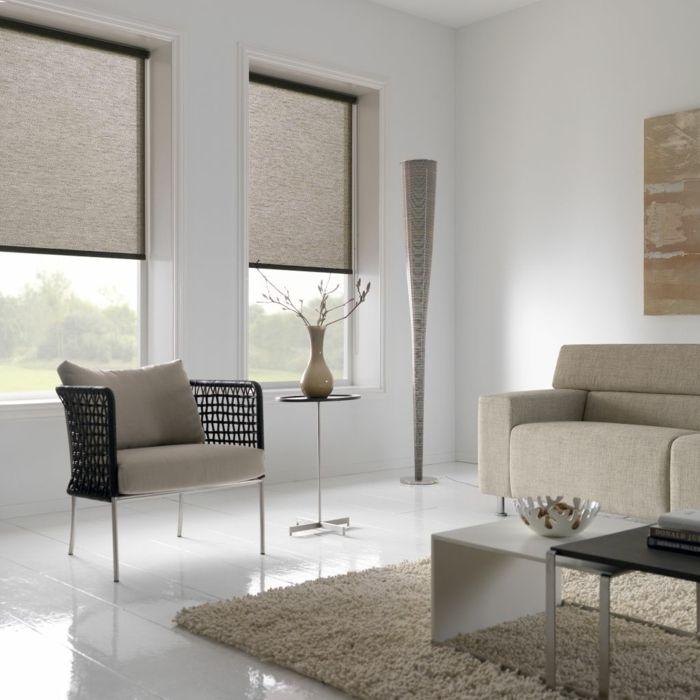 Fenster Sichtschutz Dezentes Design Fensterrollos Beige Braun