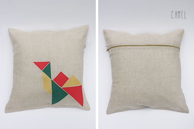Camel Linen Cushion by PINT SIZE GOODS (The Tangram Tribe Collection)