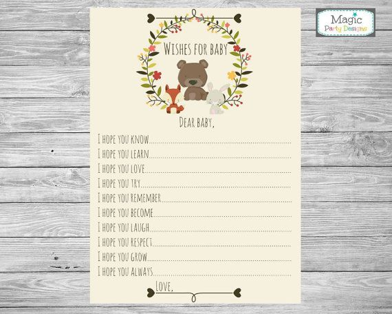 woodland baby wishes card printable baby by MagicPartyDesigns