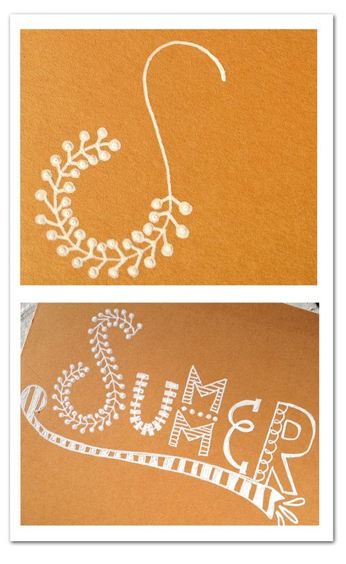 Lettering-summer-2..... Rebecca Sower.....  Love the white on colored paper
