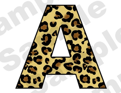 "Leopard Baby Nursery Teen Alphabet Letter Wall Stickers. All uppercase letters available. The Letters are 8"" Tall and Differ in Width."