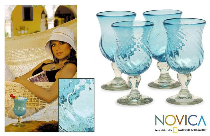 Your guests will enjoy having a margarita or two in these stemmed cocktail glasses. The blue color evokes Caribbean ocean images, and the indented shape of the glasses makes them easy to hold. This set of four glasses is dishwasher safe.