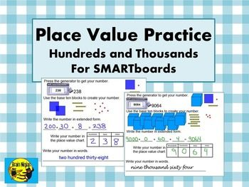 80 best free tpt math 3rd 5th images on pinterest teaching ideas place value practice interactive board hundreds and thousands fandeluxe Images