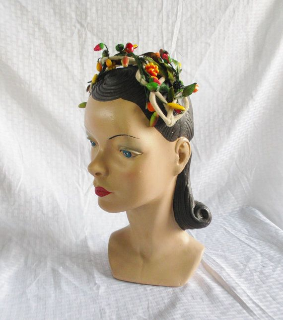 1950's Vintage Head Band Hat with Miniature Fruit Trim on Etsy, $54.00