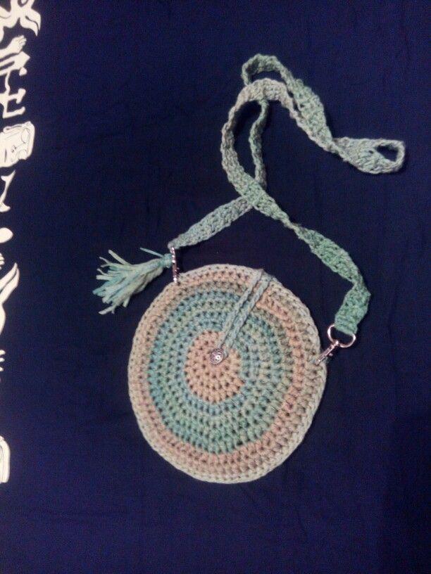 Crochet boho bag  #crochet #shirtyarn #circlebag