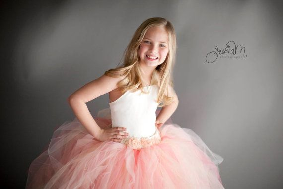 Pixie tutu dress...Ivory satin Bodice...Peach and Champagne skirt...Flower Girl Dress..Vintage Photography Prop