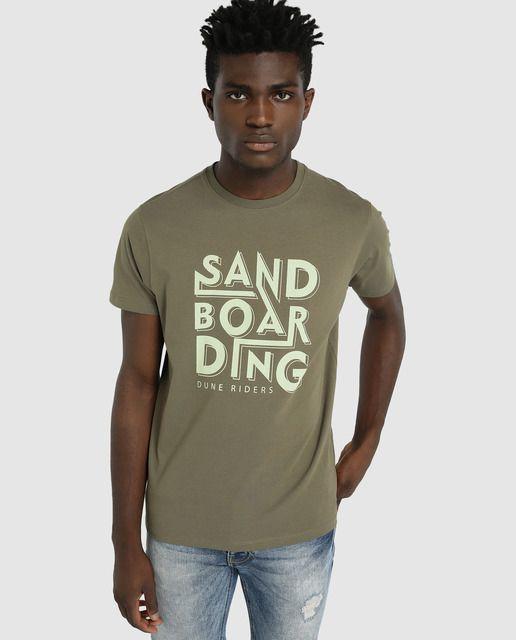 1b7a423b2 Camiseta de hombre Green Coast kaki de manga corta