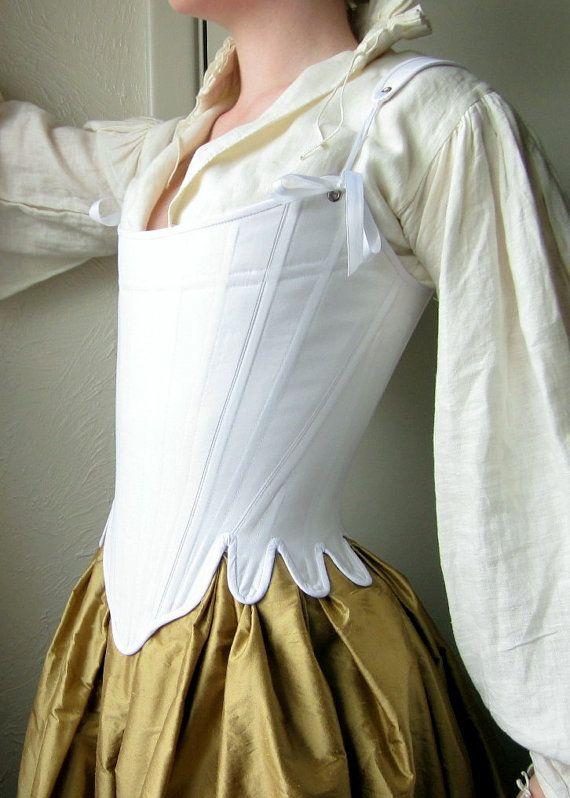 18th Century Corset Georgian Stays in White Cotton Historical Rococo Reenactment…
