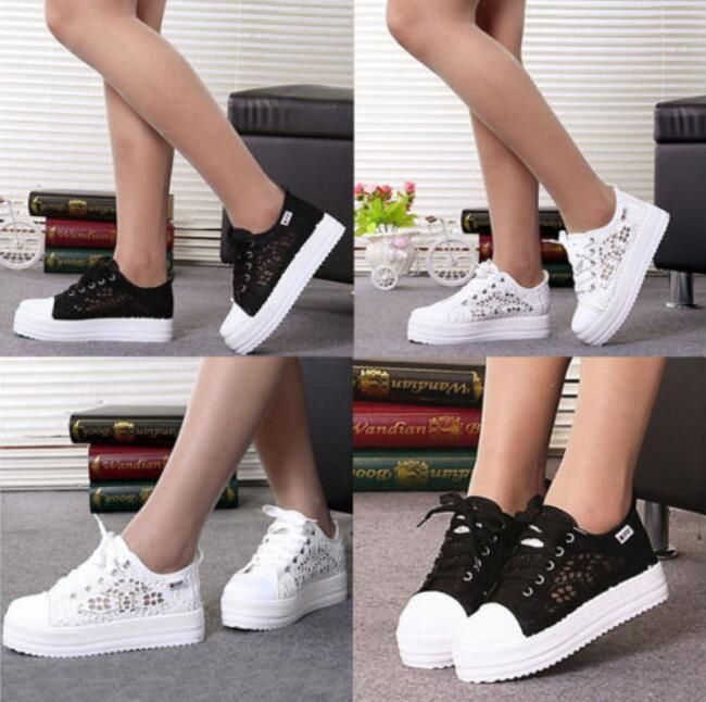 Girl Canvas Running Shoes Cross Training Shoes Lace Up Hollow Pattern Shoes