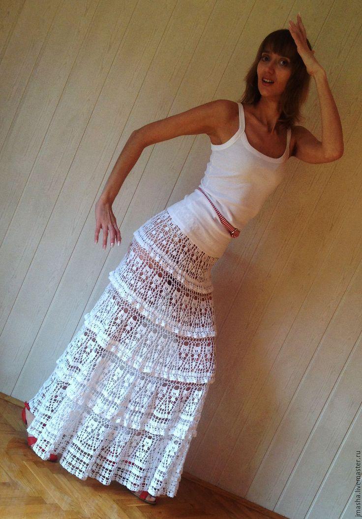 Купить Юбка вязаная крючком ЛЕТНЯЯ длинная - летняя ажурная юбка, пляжная мода 2016