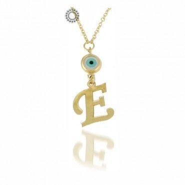 Κολιέ χρυσό με μονόγραμμα & αλυσίδα - TSALDARIS jewelry store   Παραγγελία για χρυσό μονόγραμμα online & στο κοσμηματοπωλείο μας στο Χαλάνδρι #μονογραμμα #ματι #χρυσο #κολιε