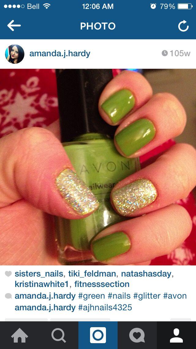 "Nails - AVON ""electric green"" - ICING ""glamorous"""