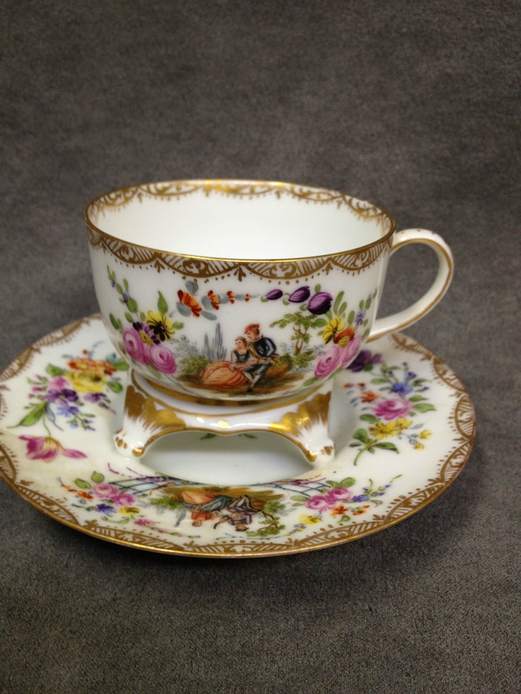 Dresden Trembleuse Cup and Saucer w Romanitc Scenes by Helena Wolfsohn
