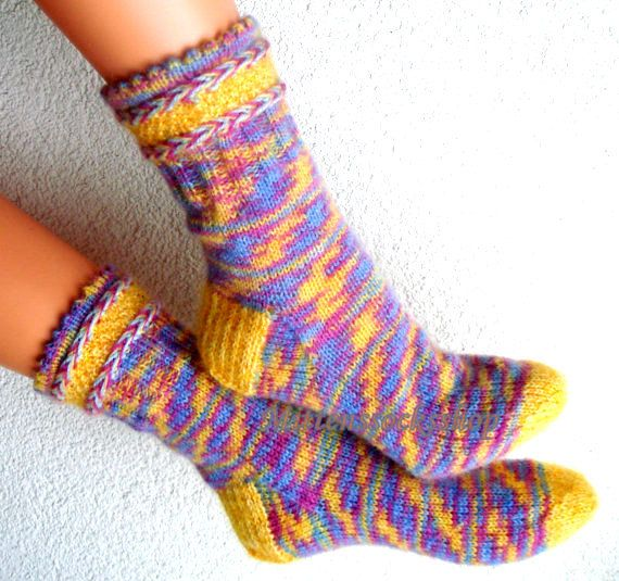 Angora wool socks Hand knitted socks from by mittenssocksshop