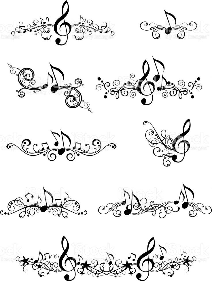 Ornate music elements and page decorations for your design isolated…